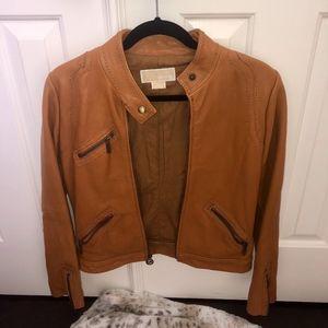 Michael Kors Tan Leather Jacket Size XS